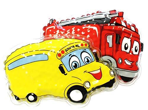 2er Kühlpad Wärmepad mehrfach Kompresse Kühlkissen Kinder wärmen kühlen Feuerwehr gelbes Auto