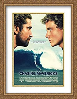 Chasing Mavericks 28x36 Double Matted Large Large Gold Ornate Framed Movie Poster Art Print