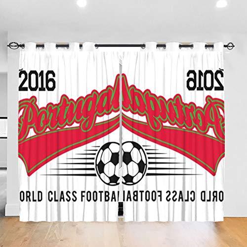 HONGYANW Hongyang Cortinas Opacas Personalizadas para Ventana Euro 2016 Fútbol Portugal Béisbol Blanco con Ojales térmicos aislados para recámara Salón 52 x 72 Pulgadas, 2 Paneles
