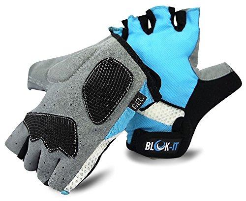 Blok-iT Guantes para Ciclismo Guantes para Ciclismo Que mejoran el Control, protegen contra ampollas, y le Hacen más Visible - Guantes para Bicicleta Confortables con diseño con Estilo (Azul, L)