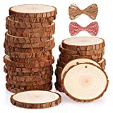 wood arts and crafts - Fuyit Natural Wood Slices 30 Pcs 2.8-3.1 Inches Craft Wood Kit Unfinished Predrilled with Hole Wooden Circles Tree Slices for Arts and Crafts Christmas Ornaments DIY Crafts