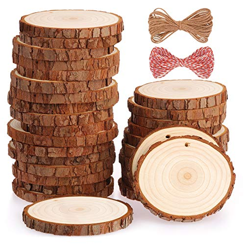 Fuyit Natural Wood Slices 30 Pcs 7-8cm Drilled Hole Unfinished Log Wooden Circles for DIY Crafts Wedding Decorations Christmas Ornaments with Free Gifts