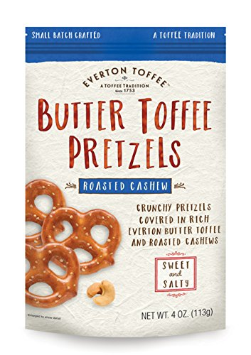 Everton Toffee Butter Toffee Pretzels, Roasted Cashew Flavor (4 oz. bag, 6-pack), Gourmet Artisan Toffee Covered Pretzels, Sweet and Salty Mini Pretzel Snacks, Small Batch Crafted