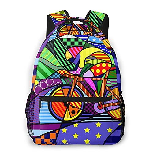 MAYBELOST Mochila casual de doble hombro,Fondo colorido bicicleta bicicleta,Mochila ligera y duradera Mochila deportiva para viajes de negocios Mochila para adolescentes adultos