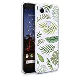 HELLO GIFTIFY Phone Case Compatible with Google Pixel 3a (5.6 inch 2019) Clear Soft TPU Gel Protective Rubber Cover, Green Leaves Designed