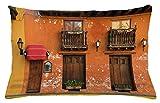 ABAKUHAUS America Funda para Almohada, Cartagena Calles Photo, Estampa Digital en Ambos Lados con Cremallera, 65 x 40 cm, Marrón Anaranjado