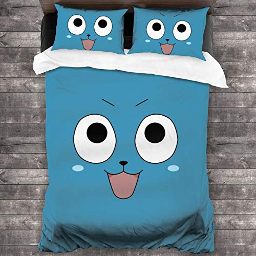 Fairy Tail Natsu Dragneel Zeref Lucy Happy Anime 3-Piece Bedding Set 1 Quilt Cover with 2 Pillowcases Microfiber All-Season Super Soft Lightweight Comfortable Home Decor for Adults Kids 86x70