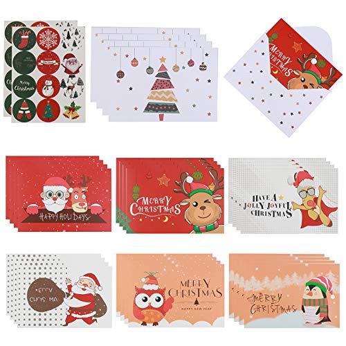 El juego de 72 tarjetas de Navidad incluye 24 tarjetas de felicitación de Navidad, 24 sobres, 24 pegatinas de sobre, tarjetas de regalo de Navidad, sobres surtidos, tarjetas de felicitación de Navidad
