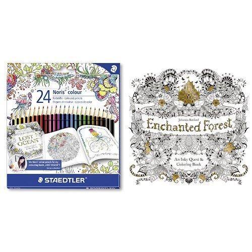 Set - STAEDTLER Buntstifte Noris colour Set 24 Farben und Johanna Basford - Enchanted Forest