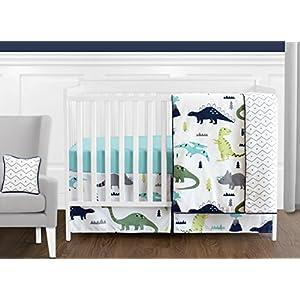 Navy Blue and Green Modern Dinosaur Baby Boys or Girls 11 Piece Crib Bedding Set