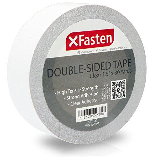 XFasten - Cinta adhesiva de doble cara transparente, extraíble, 3,81 cm por 91,44 m, rollo único, ideal como cinta de regalo, para sujetar alfombras, y carpintería