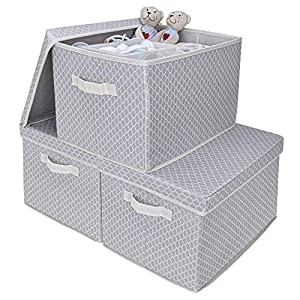 GRANNY SAYS Storage Bin with Lid, Kid's Storage Box, Toy Storage Basket Nursery Storage Containers with Lids, Extra Large, Gray/Beige, 3-Pack