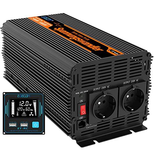 EDECOA Convertisseur 12v 220v onduleur 3000w nouvelle télécommande 2x USB transformateur de tension onde sinus modifiée onduleur 12v 230v