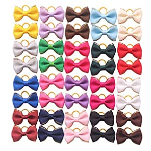 YAKA 40pcs/(20pairs) Hot Cute Small Dog Hair Bows Topknot Small Bowknot with Rubber Bands Pet Grooming Products Pet Hair Bows Hair Accessories 20 Colors
