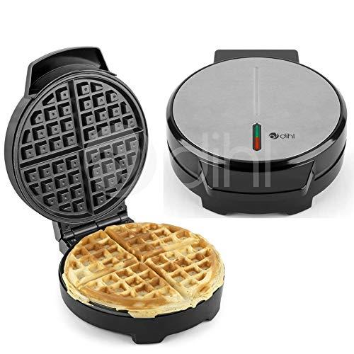 Dihl - Waffle Maker Iron Grill Non Stick Round 4 Quarters Silv