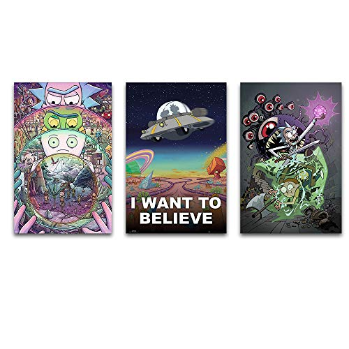 Rick and Morty Canvas Wall Art I Want to Believe Inspirational quotes Cartoon Posters Wall Art Rick and Morty Paintings for Livingroom Wall Decoration Canvas Prints Rick and Morty Wall Decor Unframed