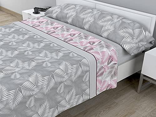 Juego de sábanas térmicas de Pirineo - 3 Piezas - 110 Gr/m2 - Mod. Hojas (Gris, Cama de 150 cm (150_x_190/200 cm))