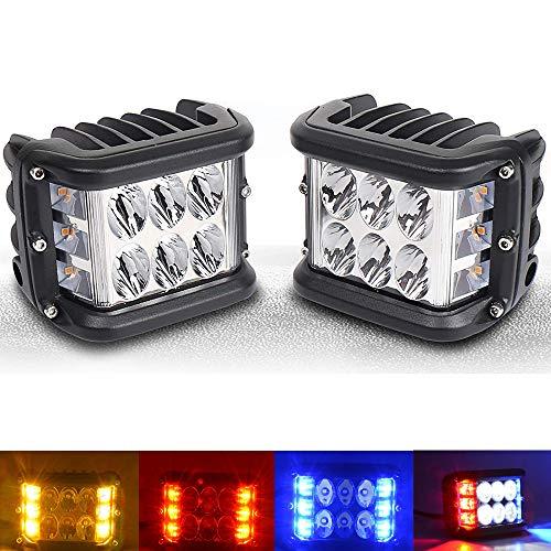 IQQI LED-Warnlicht Side-Shooter, LED Pods Licht 4 Zoll Off Road DRL Mit Flash-Strobe Funktion Fahren Flutpunkt Cube Arbeits-Licht-Bar Für Jeep-LKW ATV Boot,Yellow/White