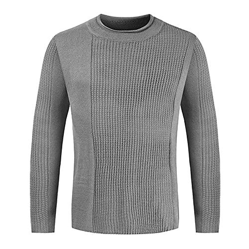 2021 Jersey de invierno para hombre, monocolor, cuello redondo, a rayas, cálido jersey de punto ajustado, informal para otoño, moda diaria, básica, camiseta para hombres y niños, gris oscuro, XL