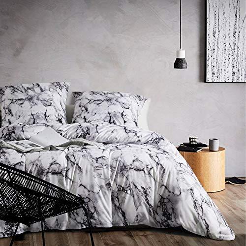 Boqingzhu Bettwäsche Set Marmor Muster Schwarz Grau und Weiß, Einzelbett 135×200 cm+80×80 cm, Microfaser