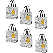 Earthwise Reusable Grocery Shopping Bags Extremely Durable Multi Use Large Stylish Fun Foldable Water-Resistant Totes Design - Pear (Pack of 6)