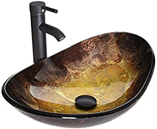 Sponsored Ad - Boat Shape Bathroom Artistic Glass Vessel Sink Free Oil Rubbed Bronze Faucet and Pop-up Drain,Gold ingot