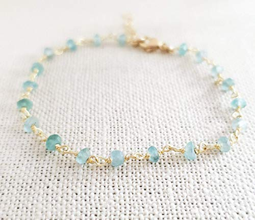 Blue Apatite Bracelet - Gemstone Jewelry - Wire Wrapped Rosary Chain - 14k Gold Filled - Gift for Her