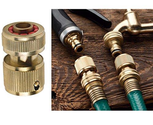 DAYE BFG - Conector rápido de latón para manguera de jardín (con válvula de cierre de 19 mm)