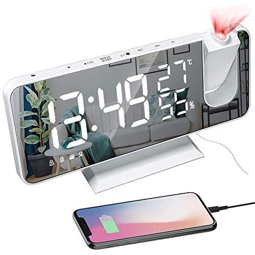 Projektionswecker, Led Digital Wecker mit Projektion 180 °, Radiowecker mit Funkuhr FM Radio, USB-Anschluss, großem LED-Anzeige Snooze Dual-Alarm Spiegelwecker für Schlafzimmer Büro Schreibtisch