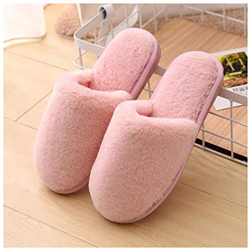 YUTJK Winter Baumwolle Pantoffeln Plüsch Wärme Weiche Hausschuhe Home rutschfeste Slippers für Herren Damen,Frauen Mute Cotton Slippers-Pink_3.5/4.5UK