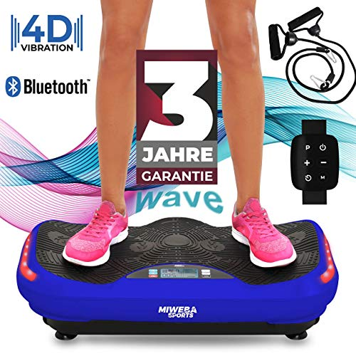Miweba Sports Fitness 4D Wave Vibrationsplatte MV300-3 Jahre Garantie - Armband Fernbedienung - Wave Design - 800 Watt - Bluetooth Lautsprecher - Trainingsbänder - Led - große Trittfläche (Blau)