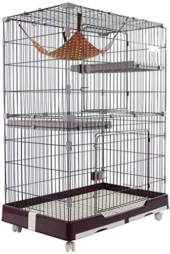 Gabbia per Gatti, Gabbia per Animali Domestici a Tre Stanze a Due Piani, Gabbia per Gatti per Piccoli Animali Villa, Gattino, Cincillà,Brown-S-72×47×102cm