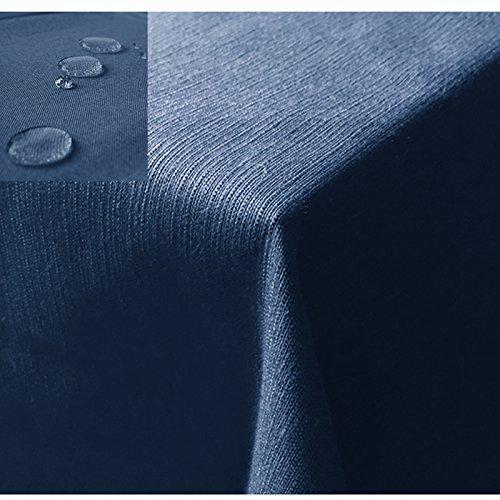 JEMIDI Nappe de table de jardin effet lin effet lotus XL, Polyester, bleu, Oval 135cm x 180cm