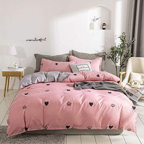 Wajade Ropa de cama infantil de 100 x 135 cm, diseño de corazones, 100% microfibra, color rosa y gris, funda de edredón con cremallera y funda de almohada de 40 x 60 cm