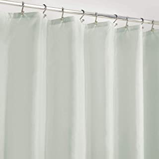 mDesign Long Water Repellent, Mildew Resistant, Heavy Duty Flat Weave Fabric Shower Curtain, Liner - Weighted Bottom Hem for Bathroom Shower and Bathtub, 72