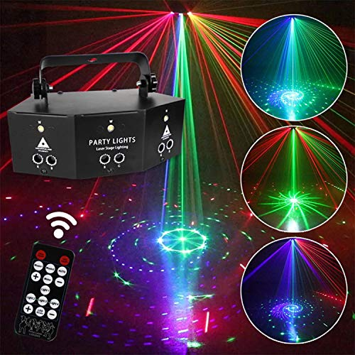 Sumger 9-lens Professional Indoor RGB DMX Stage Light,Remote Control Sound-Activated 64 Patterns Laser Projector Show Lighting,White Led Strobe lights for DJ Disco Dance Bar Pub Church Wedding Xmas