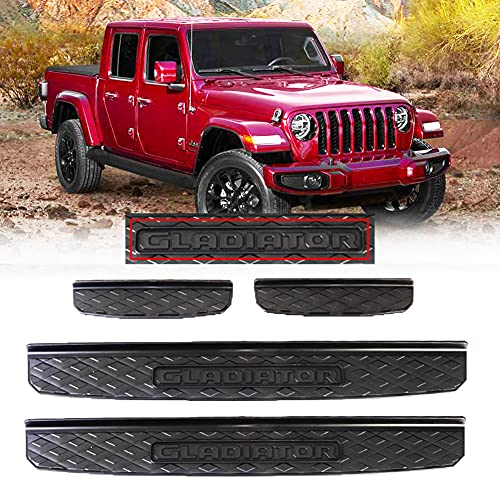 Gilneas Door Sill Guards Kit for Jeep 2019-2021 Gladiator JT Accessories,Door Entry Guard Kit Plate Cover with Gladiator Logo(4 pcs,Black)
