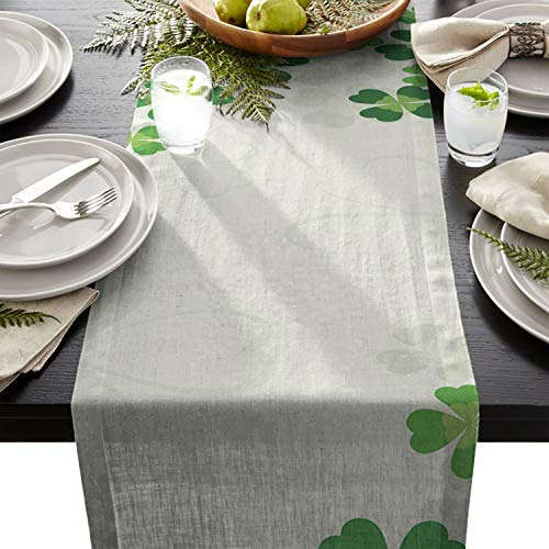 ARTSHOWING St. Patrick's Day Table Runner Party Supplies Fabric Decorations for Wedding Birthday Baby Shower 16x72inch Lucky Shamrocks Celtic Irish Clover Celebration Day