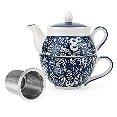 Taimei Teatime Hand Painted Tea for One Set, Ceramic Tea Pot(11 fl oz) and Cup Set with Infuser for Loose Leaf Tea, Blue and White