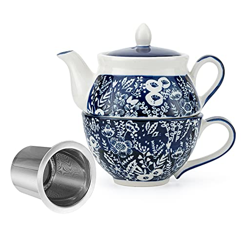 Taimei Teatime Ceramic Tea for One Set, 15-oz Teapot with Infuser and Cup, Blue Teapot Set in British Rural Style with Handpainted Floral Pattern, Tea Sets for Women