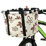 Lixada Collapsible Bike Basket,Flower Printed Small Pet Cat Dog Carrier Bag - Detachable Bicycle Handlebar Front Basket Cycling Front Bag Handbags Women