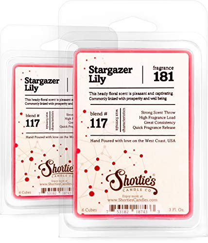 Shortie's Candle Company Stargazer Lily Wax Melts Multi Pack - 2 Highly Scented Bars - Made with Natural Oils - Flower & Floral Air Freshener Cubes Collection