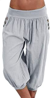KWENG Women's Summer Solid Color Harem Pants Loose Knee Trousers Female Soft Elastic Waist Trousers Plus Size (Color : Gray, Size : 5XL)