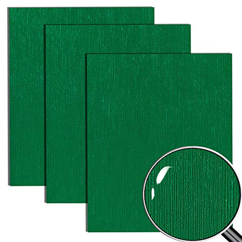"""Dark Green Heat Transfer Vinyl HTV for Polyester/Cotton Garment 12"""" X 10"""" (Pack of 3), Textured Surface and 3D Effect with Glitter Appearance"""