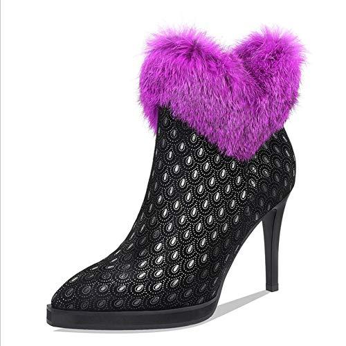 LIUJUN-WEI Botas Cortas, Plataforma Impermeable de Tacón Alto, Botas Femeninas de Cuero Estampado, Botas Sexy (Color : A, Size : 35)