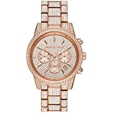 Michael Kors Women's Ritz Quartz Watch with Stainless Steel Strap, Rose Gold, 20 (Model: MK6748)