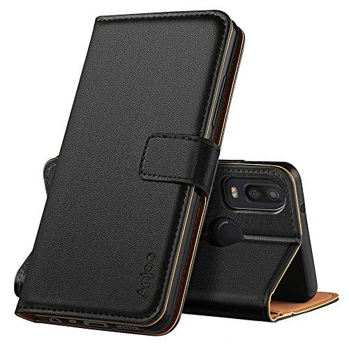 Anjoo Hülle Kompatibel für BQ Aquaris X2, Handyhülle Tasche Premium Leder Flip Wallet Hülle Kompatibel für BQ Aquaris X2 [Standfunktion/Kartenfächern/Magnetic Closure Snap], Schwarz
