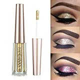 GL-Turelifes Glitter Liquid Eyeshadow Starry Paillettes Mermaid Eye Shadow Long Lasting Waterproof Sparkling Shimmer Eyes makeup (# 1 oro chiaro)