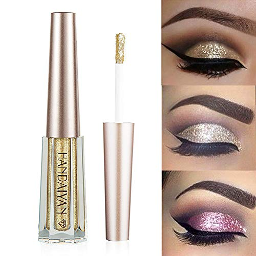 GL-Turelifes Diamond Glitter Liquid Eyeshadow & Eyeliner Pen Starry Sequins Mermaid Eye Shadow Long Lasting Shiny and Pigmented Waterproof Sparkling &Shimmer Eyes Makeup(#1 Light Gold)