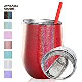 SassyCups Red Glitter Tumbler | 12 Ounce Stainless Steel Vacuum Insulated Wine Tumbler with Closeable Lid and Reusable Straw | Iridescent Sippy Cup | Glittered Tumbler | Bling Sparkle Coffee Mug
